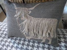 hand made and appliqued shaggy highland cow by helkatdesign