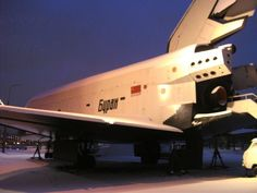 Back view of the Buran Space Shuttle in Gorky Park, Moscow, Russia