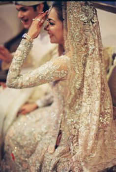 Incredibly Beautiful Indian Bride In Her Wedding Attire Pakistani Wedding Dresses, Pakistani Bridal, Indian White Wedding Dress, Bridal Lehenga, Desi Wedding, Wedding Attire, Desi Bride, Wedding Reception, Wedding Wear