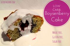 This wheat free boysenberry cake only contains carbs and only sugar. An easy recipe that is wheat free, low carb, LCHF, gluten free. Sugar Free Treats, Sugar Free Desserts, Sugar Free Recipes, Low Carb Sweets, Low Carb Desserts, Healthy Desserts, Lowest Carb Bread Recipe, Low Carb Bread, Best Low Carb Recipes
