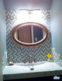 like the tile back splash behind a mirror in the bathroom
