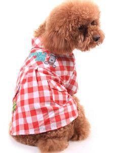 Algodón dulce rojo patrón de prueba de blanco 100% bolsillos Uniforme de mascotas - YoElijoElPrecio.com