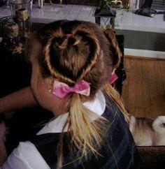 Valentine's day heart hairstyle.