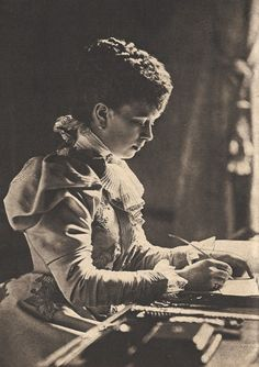 Princess May, as she was known (later to be Queen Mary), then Duchess of York, at her writing desk at York House, Sandringham