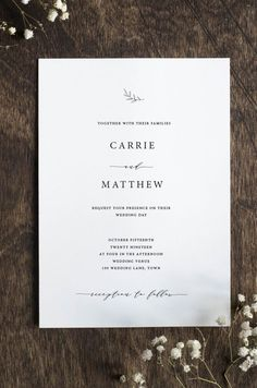 Editable Wedding Invitation Suite - modern, simple and elegant. Simply download, edit and print.