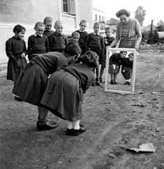 Voula Th. Papaioannou :: Mirror at the guest house courtyard of NEF, Krioneri, Greece, 1946 / src: Benaki Museum more [+] by this photographer Narrative Photography, Photography Camera, Vintage Photography, Street Photography, Antique Photos, Old Photos, Vintage Photos, Mykonos, Benaki Museum