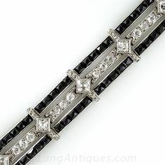 Platinum and Onyx Art Deco Bracelet with French-Cut Diamonds - 40-1-4612 - Lang Antiques