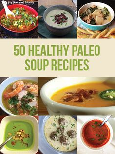 PIN FOR LATER - Going Paleo? Keep this guide to 50 healthy paleo soup recipes handy. Paleo Crockpot Recipes, Soup Recipes, Diet Recipes, Cooking Recipes, Healthy Recipes, Healthy Soups, Whole 30 Recipes, Whole Food Recipes, Paleo Soup