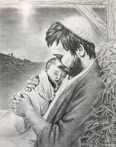 Joseph holding the baby Jesus // Nativity // Christmas drawing // Catholic Art, Catholic Saints, Religious Images, Religious Art, Jesus Drawings, Pictures Of Christ, Baby Jesus Pictures, Lds Art, Mama Mary