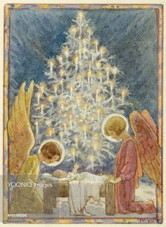 'The Stars came down and decked the tree' Christmas card. Margaret Tarrant