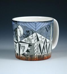 Wedgwood Festival of Britain mug designed by Norman Makinson, showing the view of the Skylon and the Festival symbol, in blue and rust with grey graphic line decoration, printed and painted marks, high Ceramic Tableware, Heart Wall, English Style, Coffee Art, Wedgwood, Mid Century Design, Mug Designs, Art And Architecture, Graphic Illustration
