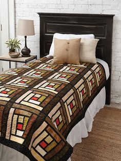 EXCLUSIVELY ANNIE'S QUILT DESIGNS: Stained Glass Logs Pattern. Order here: https://www.anniescatalog.com/detail.html?prod_id=142795&cat_id=1644