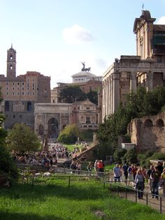 Roma.  This pic totally captures Rome to me. The Old Forum of the Romans - Julius Caesar's burial place is within these grassy areas.