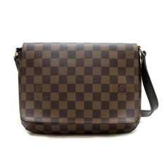 Louis Vuitton Musette tango short Damier Ebene Shoulder bags Brown Canvas N51255