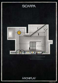 Image 7 of 29 from gallery of Federico Babina's ARCHIPLAY Illustrations Imagine Set Designs by Master Architects. Photograph by Federico Babina Architecture Drawings, School Architecture, Architecture Posters, Architecture Graphics, Concept Architecture, Shop Front Design, Set Design, Composition Art, Carlo Scarpa
