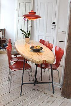 Surfboard dinner table – making my own wave. Surfboard Table, Surfboard Decor, Surf Decor, Table Plancha, Beach House Decor, Diy Table, Dinner Table, Coastal Decor, Furniture Making