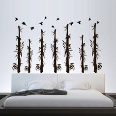 Wall Decal Bamboo Flowers Tree Forest Plants Nature Grass Bed Birds Thank. Forest Plants, Tree Forest, Bird Bedroom, Flowering Trees, Wall Decal Sticker, Art Decor, Home Decor, Bamboo, Living Room