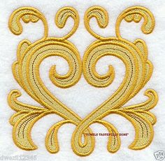 Mouse over image to zoom                                                                                               Have one to sell? Sell it yourself         GOLDEN BAROQUE HEART - 2 EMBROIDERED HAND TOWELS by Susan