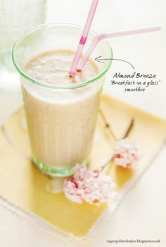 """Breakfast in a Glass"" - Healthy but indulgent smoothie using Almond milk, banana, oatmeal, coconut"