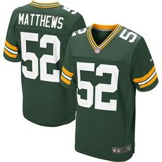 New Packers 52 Clay Matthews Nike Elite Jersey Green Team Color