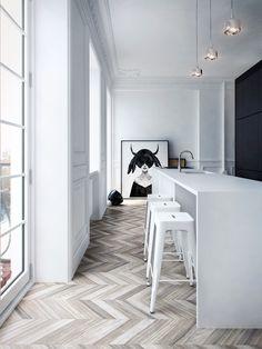 White and grey herring bone floors