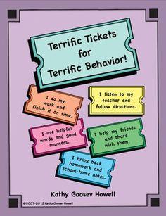 $3.00  Terrific Tickets for Terrific Behavior