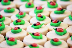 These cookies are too adorable! 5 dozen Mini Ladybug Cookies by CraftedCookies via Etsy.