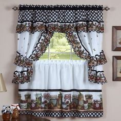 Harvest Fruit Kitchen Curtains Have A Loverly Multi Color Print Swags Valance Tiers Are Accented With Wonderful Ivory Lace Borde