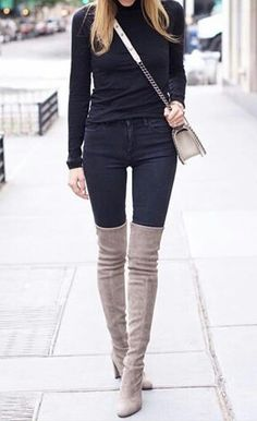 Long boots & black pants