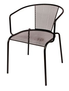 Verona Black Stackable Outdoor Micro Mesh Arm Chair, SU1305BL by BFM Seating | BizChair.com
