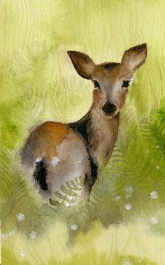 "Amber Alexander  ""Field""  Deer watercolor  http://www.etsy.com/shop/amberalexander"