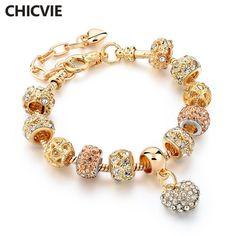 CHICVIE Presentes de Cristal da cor do Ouro Do Encanto Do Coração Pulseiras & Pulseiras para As Mulheres Pulseira Da Moda Jóias Sbr160056 Femme