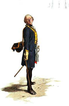 SOLDIERS- Menzel: SYW- Prussia: Prussian Füsilier-Regiment von Rohr No 47, by Adolph Menzel.