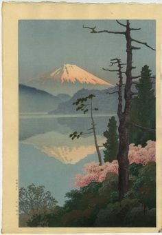 artelino - Online auction catalog for Japanese prints, ukiyo-e and contemporary Chinese art. The artelino company, located in a small village in Bavaria, is a family business specialized in online auctions of Japanese prints since Japanese Art Styles, Japanese Art Prints, Japanese Colors, Traditional Japanese Art, Japanese Artwork, Japanese Painting, Chinese Painting, Monte Fuji, Art Japonais