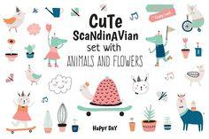 Cute Scandinavian animals & flowers - Illustrations - 1