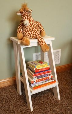 Ladder Table White | Do It Yourself Home Projects from Ana White --- LOVE the idea of this for a book storage/nook for the kids rooms.