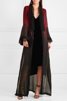 Black and red cotton-blend, black crocheted lace Slips on 62% cotton, 21% polyester, 7% acetate, 6% polyamide, 3% silk, 1% polyester Dry clean ImportedAs seen in The EDIT magazine
