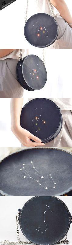 Handgemachte runde Ledertasche mit Sternzeichen