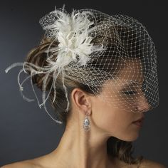 Bridal Birdcage Veil with Feather and Crystal Fascinator Comb.