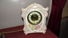 Antique Ansonia Bonn Germany Key Wind Clock Pink Floral Gold Accents Works Great by FabulousFinds1 on Etsy