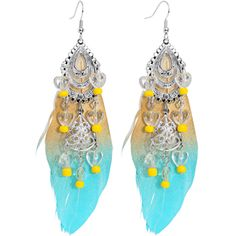 Boho Chic Chandelier Feather Dangle Earrings #earrings #piercing #bohemian #feathers $10.99