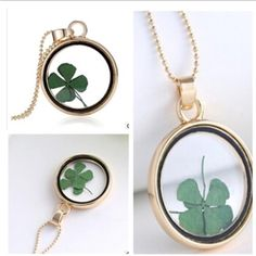 """NEW FLOATING DRIED CLOVER 14K GP GLASS NECKLACE PERFECT FOR ST PATRICKS DAY14K GOLD PLATED 24"""" chain. 1.5"""" pendant drop with dried clover leafs inside glass. NO TRADES ❌QUESTIONS FROM NON SERIOUS BUYERS DO NOT BUNDLE UNLESS YOU INTEND TO BUY ✂️DO NOT LOWBALL ⛔️NO PRICE COMMENTS ⁉️PRICE IS FIRM AND REFLECTED ON FEES AND COST Boutique Jewelry Necklaces"""