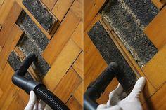 Em seguida, com o aspirador de pó, retire a poeira e os resíduos que se acumularam ao longo do tempo no contrapiso e na base do taco