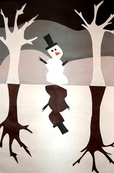 Snowmen at night : Frozen Winter Landscape Collage gray scale analogous colors
