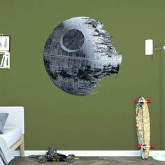 The Death Star wall decal provides an easy decorating solution. All of Fathead's Star Wars Movies wall decals are reusable without damaging walls.