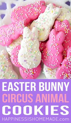 Pink and White Easter Bunny Circus Animal Cookies Topped with Rainbow 100's & 1000's Sprinkles