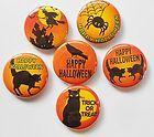 Halloween Black Orange Flatback Pin Back Buttons 1 for Bows Embellishment - Halloween Flatback Pins Embellishments, Bows, Scrapbook, Buttons, Orange, Halloween, Black, Ornaments, Arches