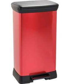 ColourMatch 50L Pedal Bin - Poppy Red.