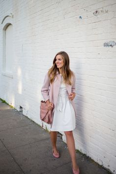 """5.15 serena & lily (Max Mara wool & angora coat in powder pink + Serena & Lily 'June' party dress + Serena & Lily obi belt in white + Chanel flats + Chloe 'Marcie' shoulder bag in pink + Bauble Bar bangle + Estee Lauder lipgloss in nude rose"""""""