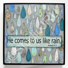 Encouraging Christian Scritpure art, Like Rain, original mixed media by StudioJRU